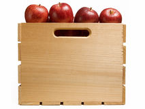 Crate of Red Apples. Wooden Crate of Red Apples isolated on White Background Stock Image