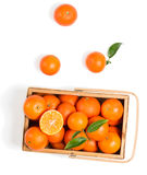 Crate of ripe tangerines with leaves, top view Stock Photography