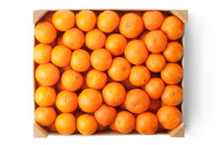 Crate of ripe tangerines. Top view. Royalty Free Stock Photos