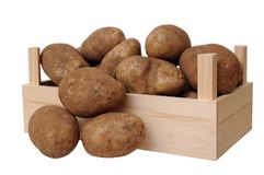 A crate with russet potato Royalty Free Stock Images