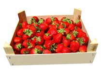 A crate of strawberries. Isolated on white background Royalty Free Stock Image