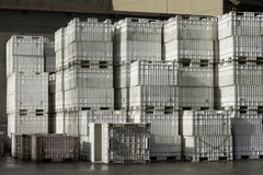 Crate Time. Alot of grape crates stacked up out back in loading area Royalty Free Stock Images
