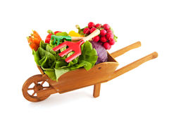 Crate vegetables. Wooden crate with a diversity of fresh vegetables Royalty Free Stock Photos