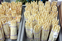 Crate of white asparagus stock photos