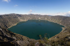 Crater湖Quilotoa火山 免版税库存照片