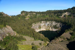 Crater with black lake Royalty Free Stock Photo