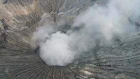 Crater of Bromo vocalno, East Java, Indonesia, Aerial view stock video footage