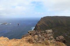 Crater Edge Rano Kau Easter Island Stock Photos