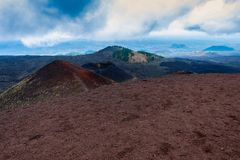 Crater of Etna volcano with Catania in background, Sicily royalty free stock images