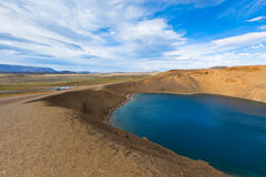 Crater of an extinct volcano Krafla in Iceland filled with water Stock Images