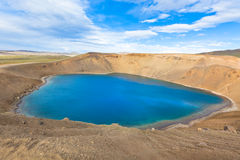 Crater of an extinct volcano Krafla in Iceland filled with water Royalty Free Stock Photos