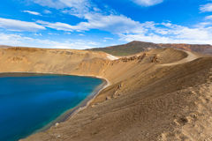 Crater of an extinct volcano Krafla in Iceland filled with water Stock Photo