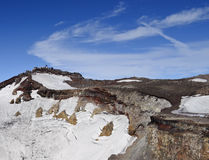 Crater of Fuji-san. Crater on the summit of Mt. Fuji Stock Photo