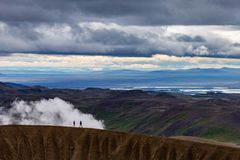 Crater hikers iceland stock photos