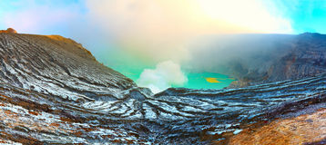 Crater Ijen. Crater of volcano Ijen. Java. Indonesia. Panorama stock photography