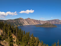 Crater lake. Sapphire blue Crater Lake  on a blue sky day Royalty Free Stock Photo