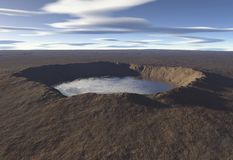 Crater Lake. Digital render of a crater lake in an empty landscape royalty free illustration