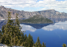 Crater Lake. With a nice cloudy blue sky Stock Photos