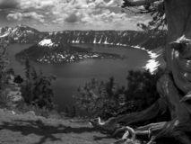 Crater lake black and white Royalty Free Stock Photos