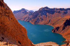 Crater Lake of Changbai Mountain Royalty Free Stock Photos