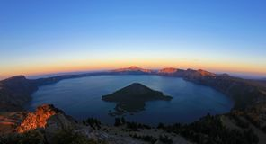 Crater Lake, fisheye view from Watchman`s Peak just before sunset, Crater Lake National Park, USA. Crater Lake, fisheye view from Watchman`s Peak just before Royalty Free Stock Image