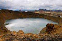 Crater lake Krafla. In Iceland Royalty Free Stock Photo