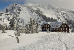 Crater Lake Lodge in Winter Stock Photo
