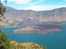 Crater lake of Mount Rinjani, Lombok, Indonesia Stock Photo