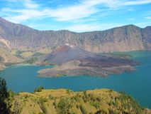 Crater lake of Mount Rinjani, Lombok, Indonesia Royalty Free Stock Image