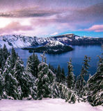 Crater Lake National park. The beautiful Caldera of Great Lake that was once a giant Volcano Mt. Mazama is photographed here at twilight before the stars started Royalty Free Stock Photography