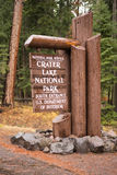 Crater Lake National Park Entrance Sign Oregon State Stock Photography