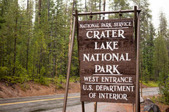 Crater Lake National Park Entrance Sign Oregon State Royalty Free Stock Photography