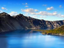 Crater Lake National Park, Oregon United States. The gloriously crystal blue waters in Crater Lake, National Park, Oregon. Crater Lake is the deepest lake in the stock photography
