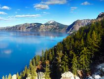 Crater Lake National Park, Oregon United States. The gloriously crystal blue waters in Crater Lake, National Park, Oregon. Crater Lake is the deepest lake in the Stock Photo