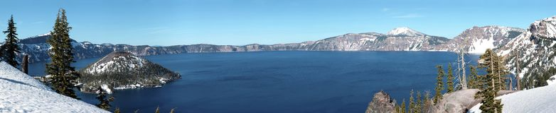 Crater Lake national park panorama, Oregon. Royalty Free Stock Image