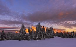 Winter Sunset at Crater Lake Stock Photography