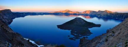 Crater Lake, Oregon. Crater Lake National Park at dawn stock photo