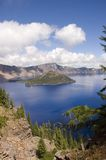 Crater Lake, Oregon. View of Crater Lake in Oregon the result of an ancient volcano exploding and the destruction of Mount Mazama Stock Photo