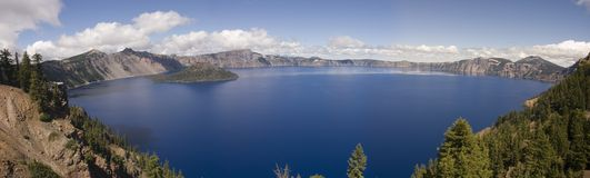 Crater Lake, Oregon. View of Crater Lake in Oregon the result of an ancient volcano exploding and the destruction of Mount Mazama Royalty Free Stock Photo