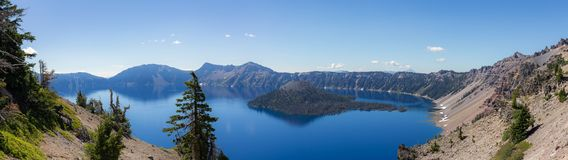 Crater Lake panorama view in the summer. royalty free stock photos