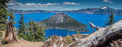 Crater Lake panorama. Wizard Island in Crater Lake Royalty Free Stock Photography