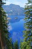 Crater Lake, Phantom Ship. Phantom Ship, Crater Lake National Park, Summer, Oregon, United States Stock Image