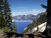 Crater Lake. Possibly the clearest and bluest natural water anywhere royalty free stock photography