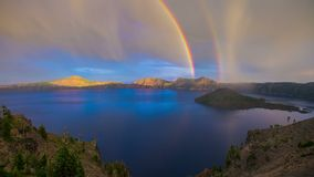 Crater Lake Rainbow Oregon 692 stock footage