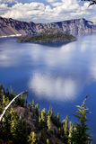 Crater Lake Reflection Clouds Blue Sky Oregon Royalty Free Stock Photos