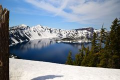 Crater Lake Scenary. Photo of a small island in the middle of Crater Lake in South Central Oregon Stock Photo