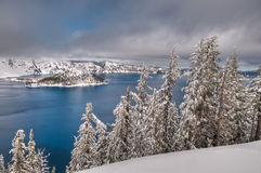 Crater Lake Snow. A view of Crater Lake in the heart of winter Royalty Free Stock Photos