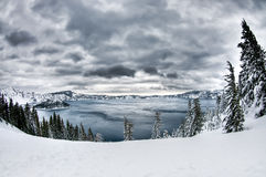 Crater Lake Snow Royalty Free Stock Image
