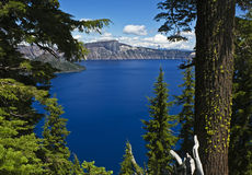Crater Lake splendor. Crater Lake with mossy trees and distant Mt. Thielsen, Oregon Stock Image