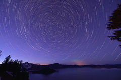 Crater Lake and Star trails, Oregon Stock Photography